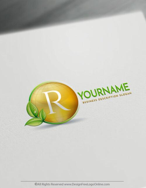 Design Free Eco Logo Online - Gold Globe Logo Template