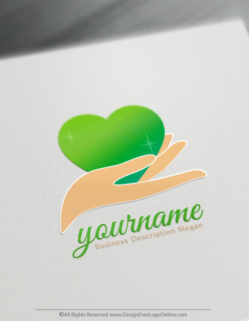 create your own hand holding green heart logo online