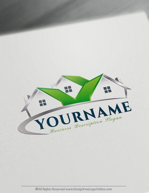 Houses symbol with Eco green roofing image