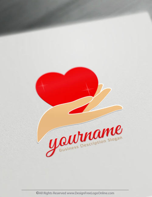 create your own hand holding heart logo online