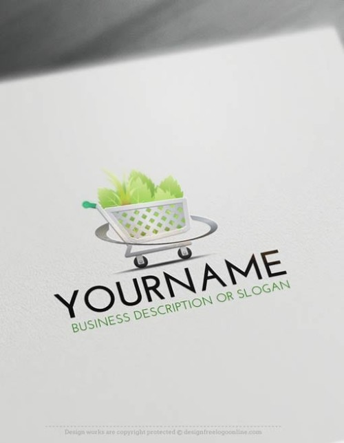 Online Green shopping cart Logo