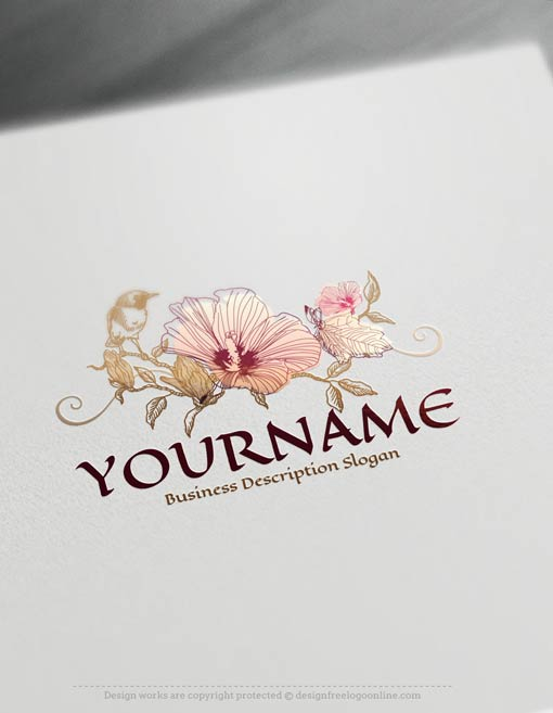 Create A Logo Free Vintage Bird Flower Logo Template