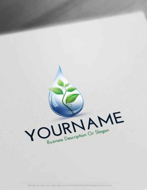 Create a Drop Logo Free - Online Eco Leaf Logo Template