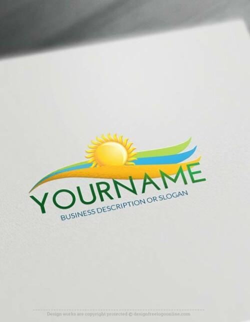 00444-Free-Logo-Maker-Sun-landscape-Logo-Template