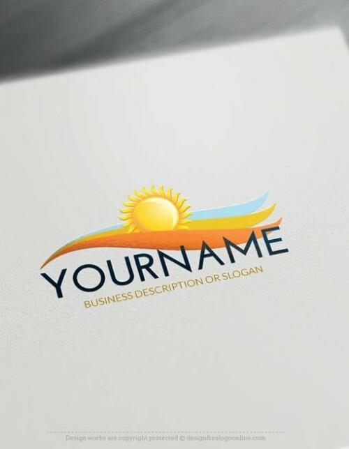 Free Logo Maker - Design Sun landscape Logo Template