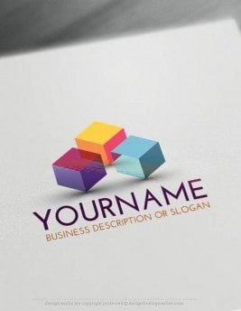 Create a Logo Free - 3D Cubes Logo Template Ready made Online 3D company logo template Decorated with 3D Cubes Logo image.