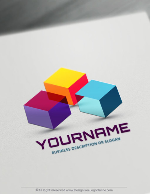 Create Your Own 3D Cubes Logo Free using online 3D logo Maker app.
