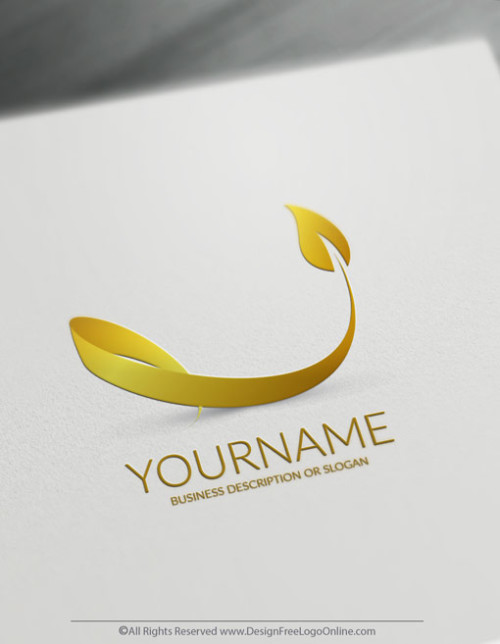 Create Beauty Logo Online 3D Gold Leaf Logo Template