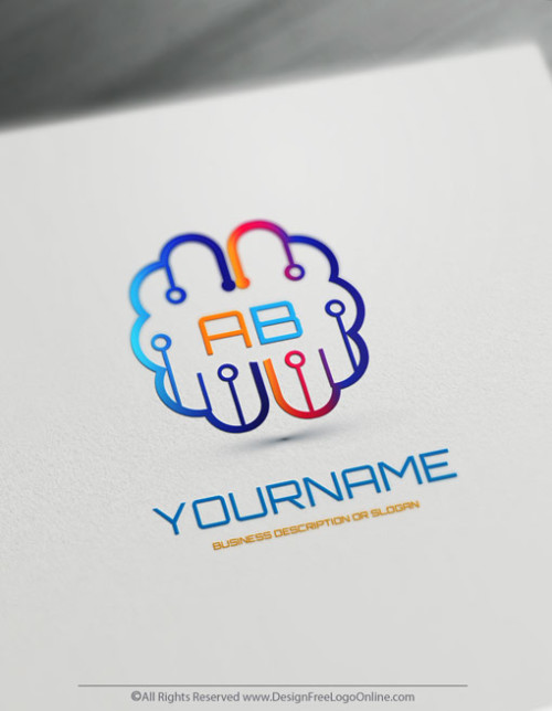 Create Your Own Logo Ideas - Digital Brain Logo Design
