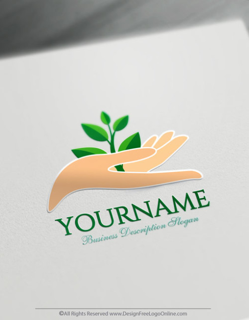 Create a Hand Logo Free - Growing Leaf Logo Template