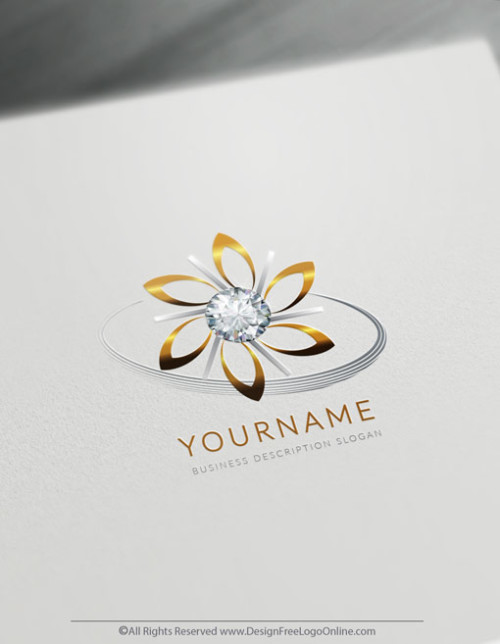 Free Jewelry Logo Maker - Diamond Flower Logo Templates