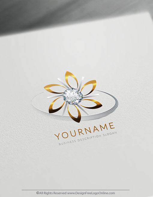 Free Jewelry Logo Maker - Diamond Flower Logo Templates