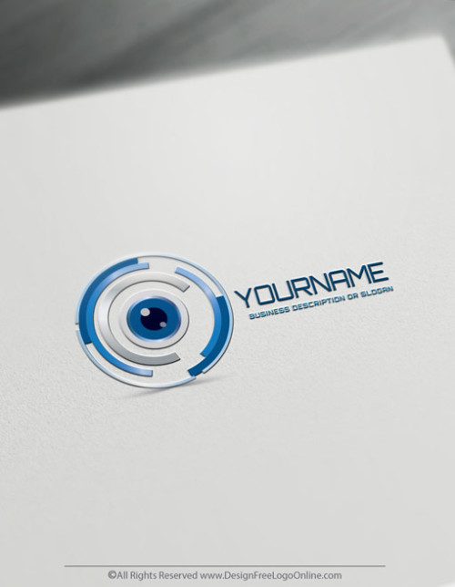 Blue Eye Focus Logo Design Template - Free Technology Logo Maker