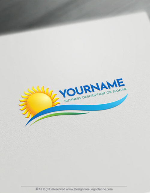 Free Sun Logo Maker - Create your own sea landscape logo designs