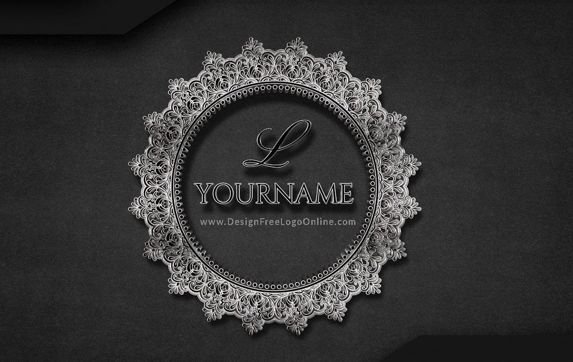 Black Floral Lace Logo Monogram maker