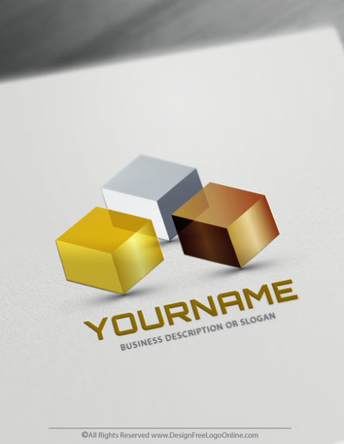 Create Your Own 3D Gold Cubes Logo Free
