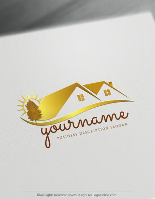 golden Realtor logo maker house image