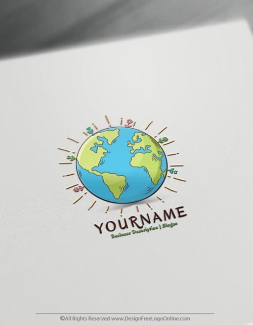 Create a logo for free with our Hand Drawn Mother Earth Logo Template