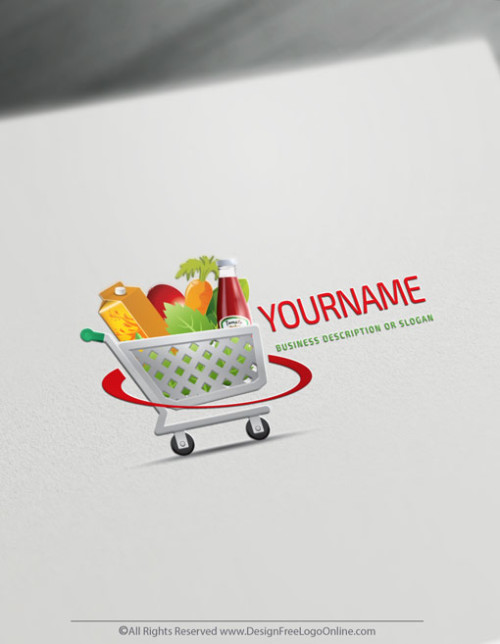 Create a Grocery Logo Free - Organic Shopping cart Logo Templates