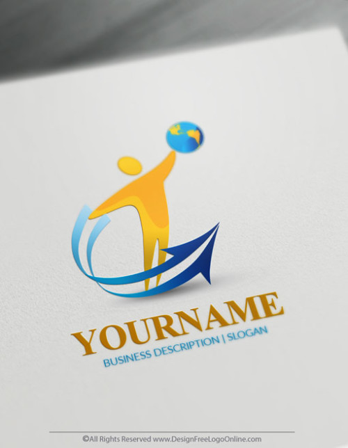 Design A Logo Online - Human Globe Arrow Logo Template