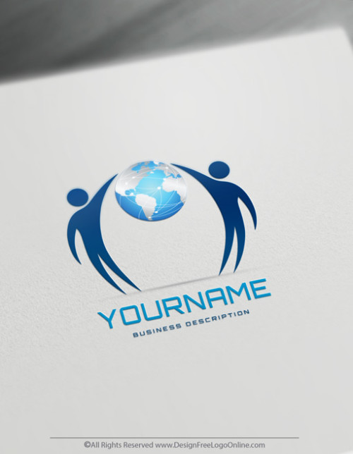 Global Business Logos with People holding world image