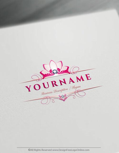 Pink flower lotus logo maker free online
