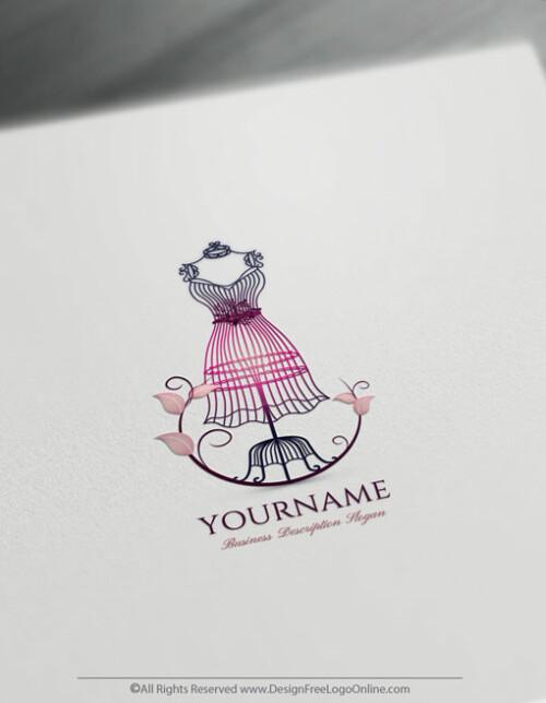 Women's Fashion Logo Templates. vintage Free Dress Logo Maker