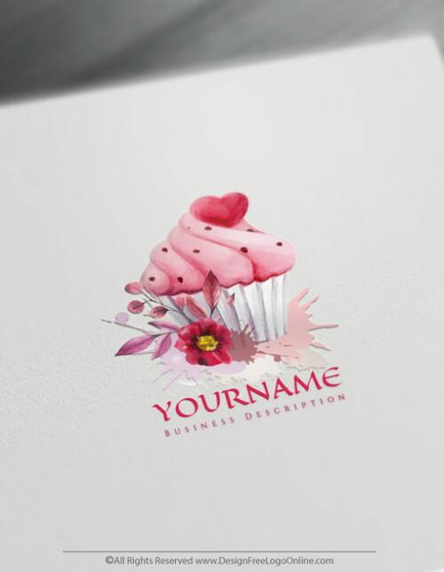 Watercolor Vintage Cupcake Logo