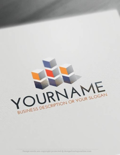 3D Cube tower Logo Template