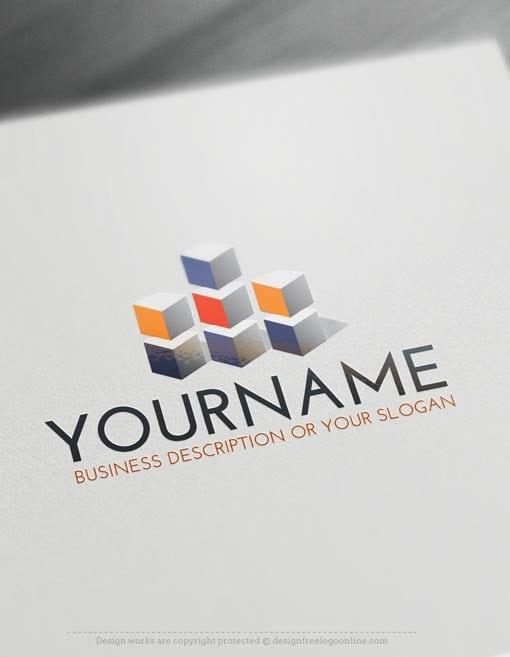3D Cube tower Logo Template