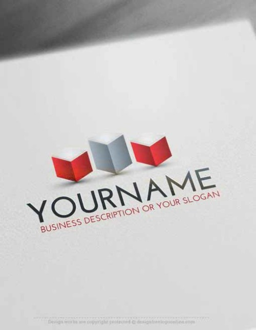 free logo maker – 3D Cubes tower Logo Template