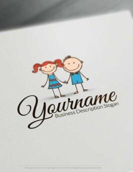 Free LogoMaker - Create Happy Kids Logo Template