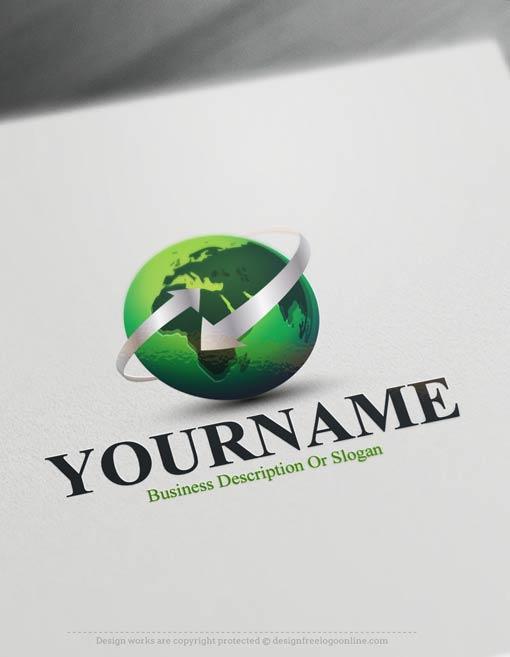 Free Logomaker 3d Eco Globe Logo Template