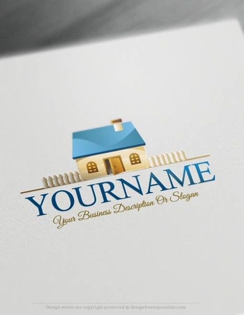 Free-Logo-Maker-House-fence-Logo-Template
