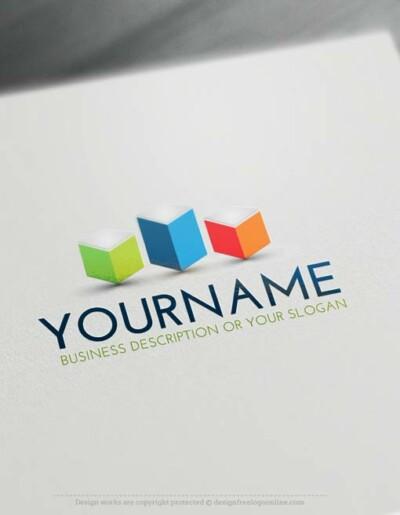 Online free logo maker - 3D Cubes tower Logo Template