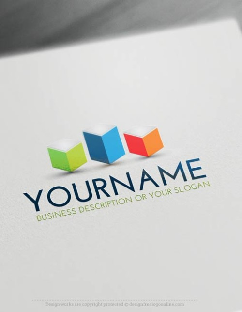 Online free logo maker - 3D Cubes tower Logo Template
