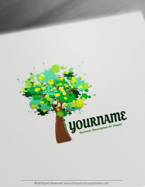 Free Art Logo Maker - Design Green Tree Logo Template