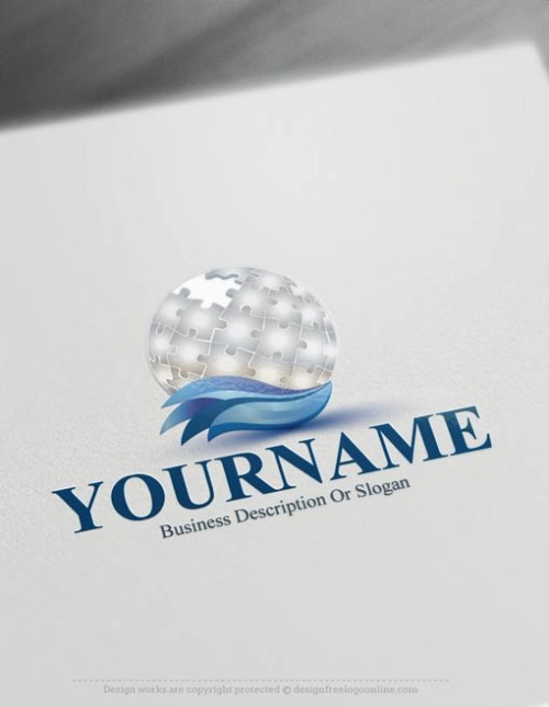 globe-Puzzle-logo-design-free-logomaker