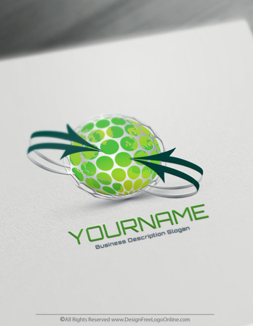 Create Your Own Online 3D Green Eco Globe Logo Design Ideas