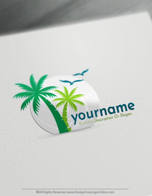 Make your own palm tree logo designs with the free travel logo maker app