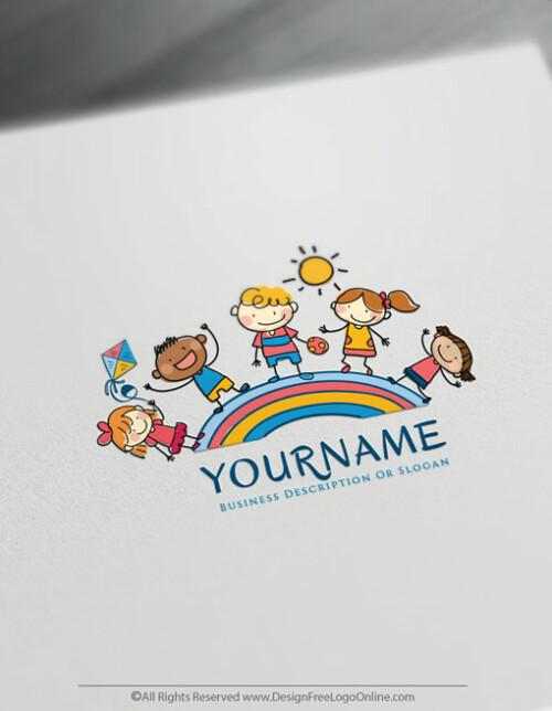 Group Of Kids around the rainbow Logo Template