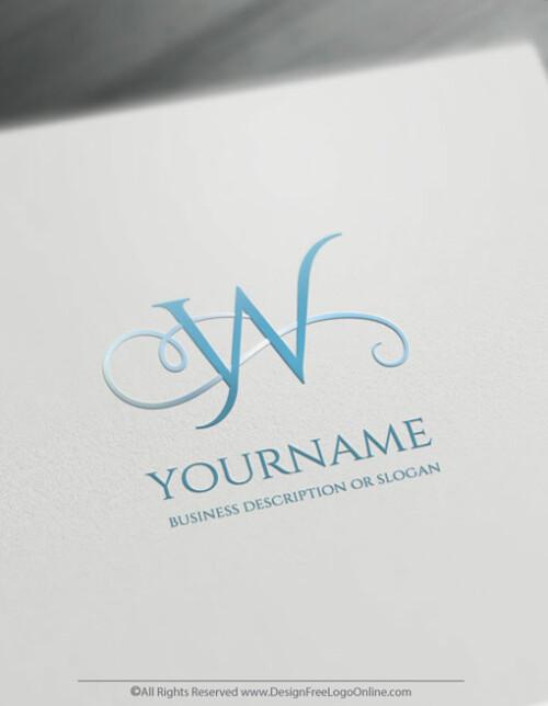 minimalist blue letter logo maker