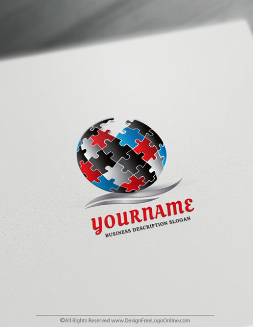 Make a Puzzle Globe logo for free. Create a Logo with the best online 3D Logo Maker