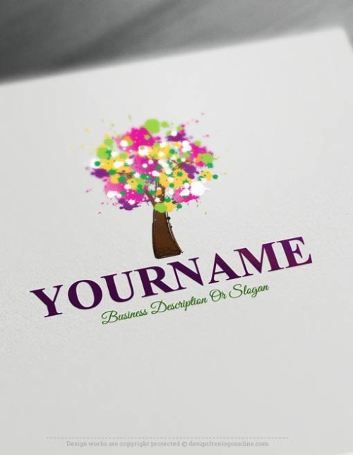 Design Free Logo: Create own Paint Tree Logo Template