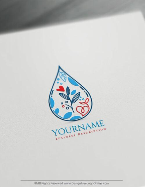 Water Drop & Leaf Logo Template