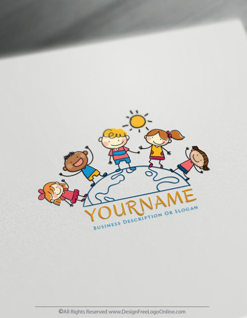 Group Of Kids around the world Logo Template