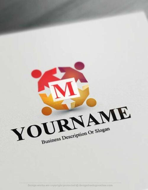 Free Logo Maker - Online Human Group Initials Logo