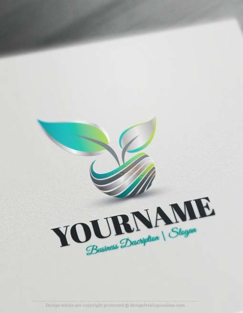 Create a 3D Logo Free - Abstract 3D Leaf Logo Design Online