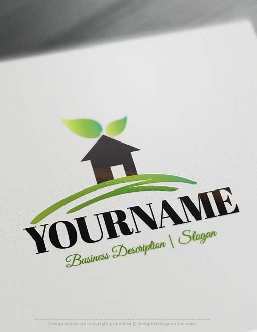 Free logo maker house logos for Household design logo