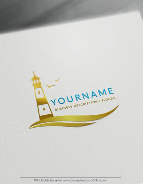 golden lighthouse Logos